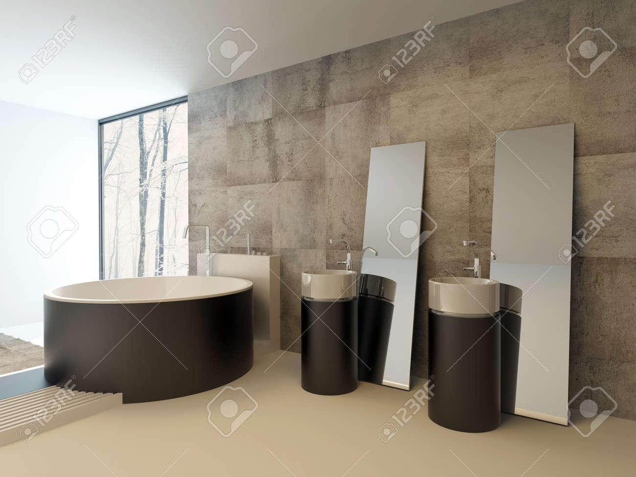 Intérieur de salle de bains moderne haut de gamme en brun et beige avec une  baignoire circulaire contemporain et vanités contre un mur en travertin ...