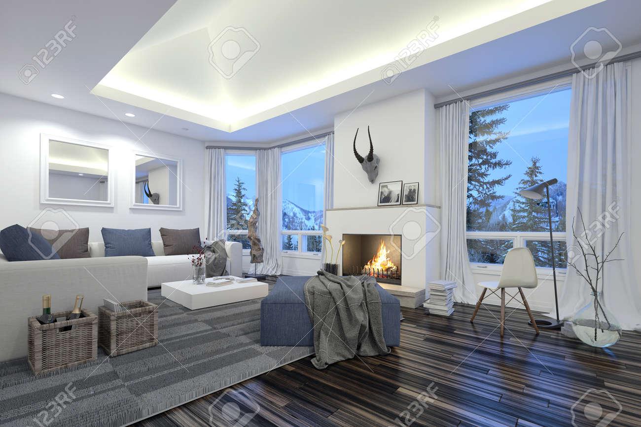 Große, Geräumige Moderne Wohnzimmer Mit Einem Feuer Im Kamin ...