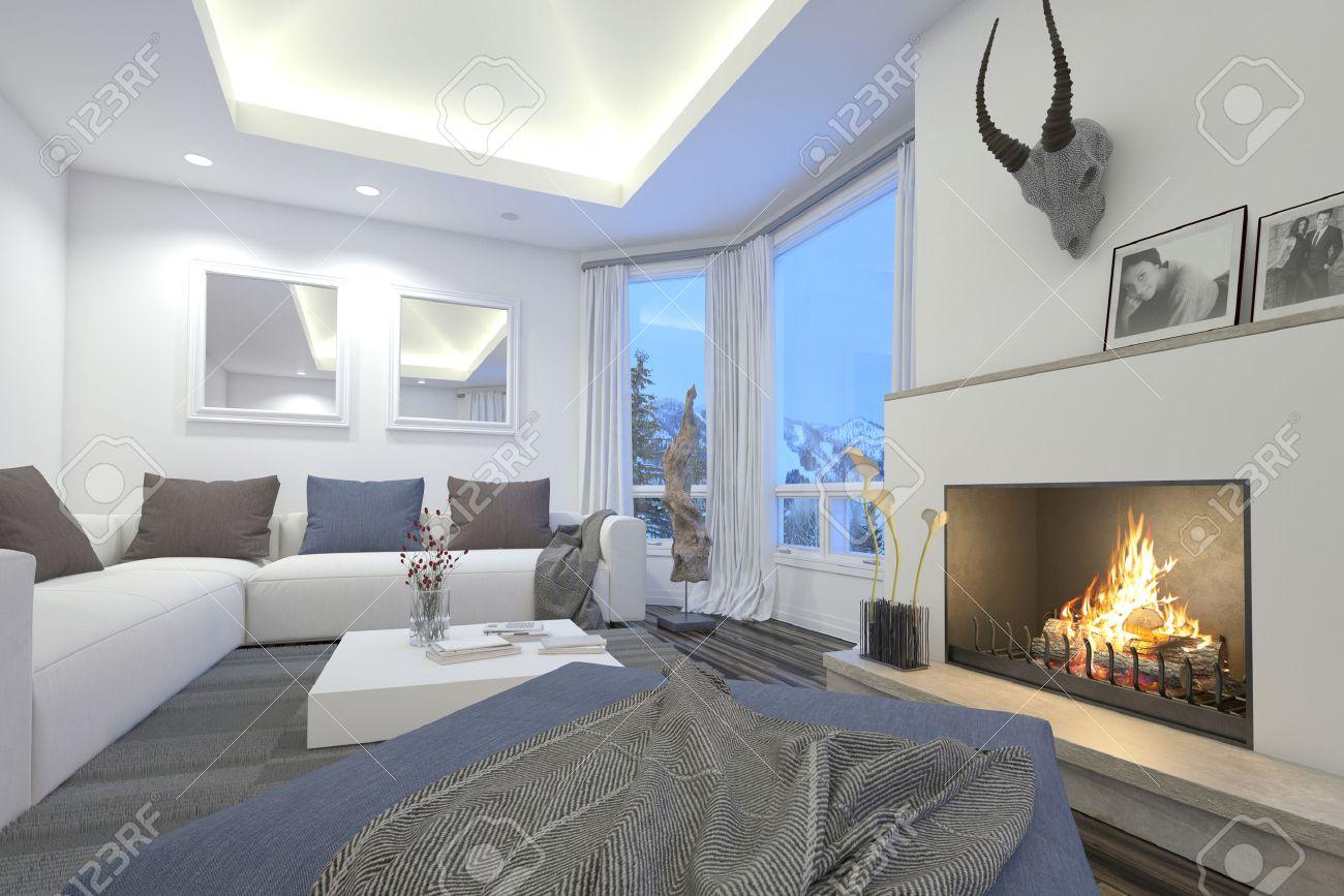 Haut De Gamme Salon Interieur Avec Un Feu De Cheminee Un Eclairage Zenithal En Retrait De Confortables Canapes Modulaires Et Un Trophee Monte Sur La