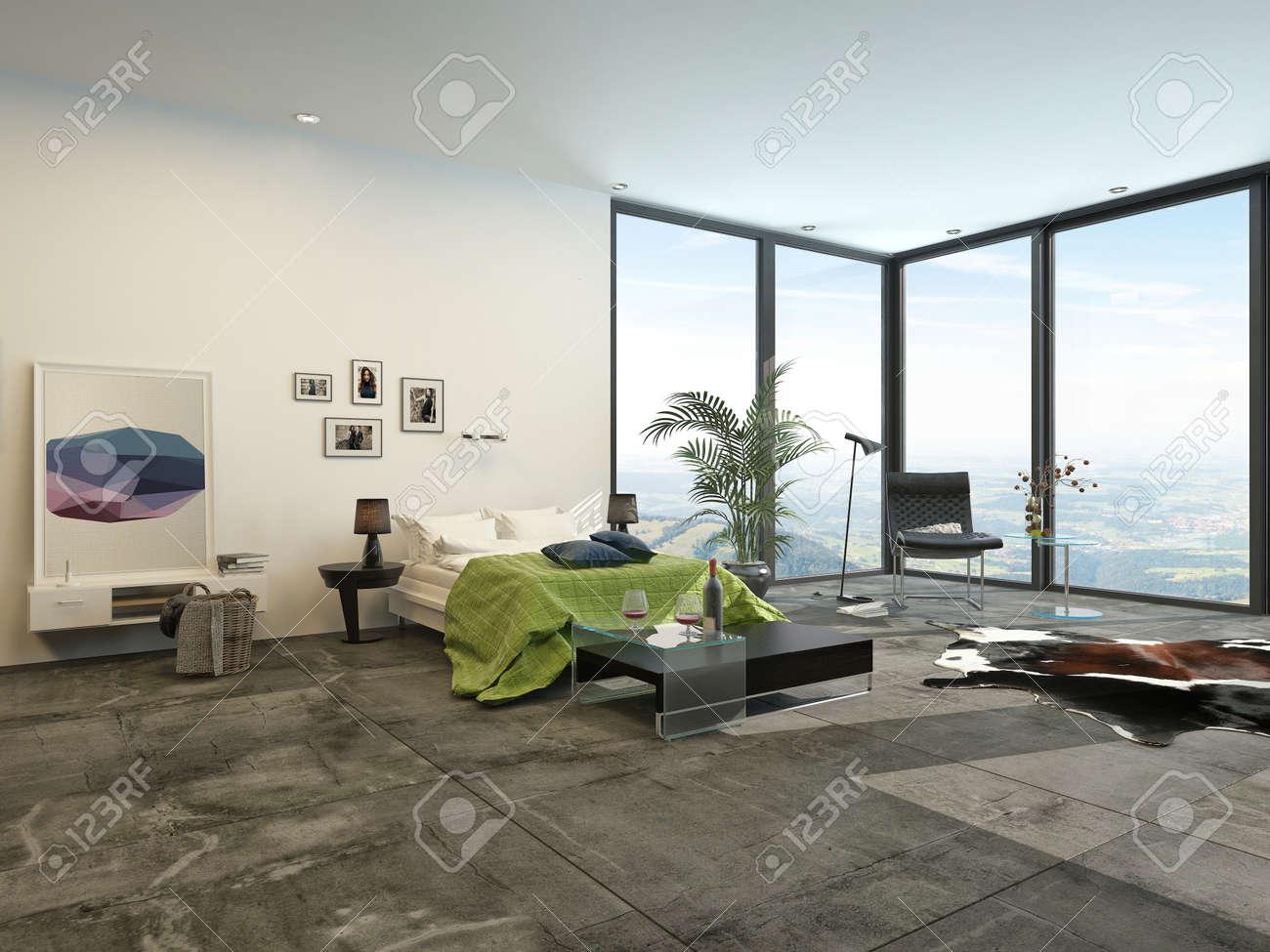 Große Geräumige, Moderne Zimmer Mit Innen-Fenster-Ansicht Mit Blick ...