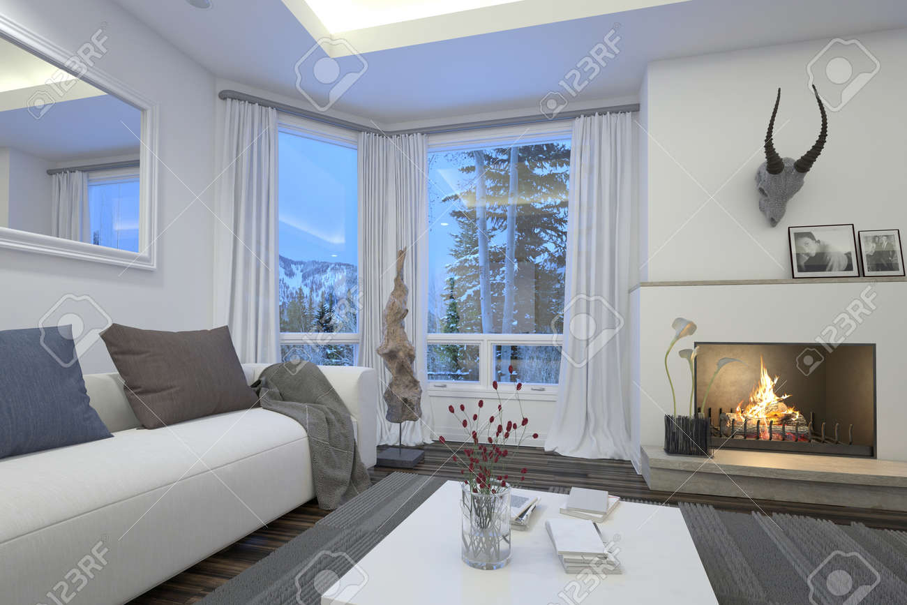 Cozy Living Room Interior With An Upholstered White Couch And Burning Fire  Surmounted By A Trophy
