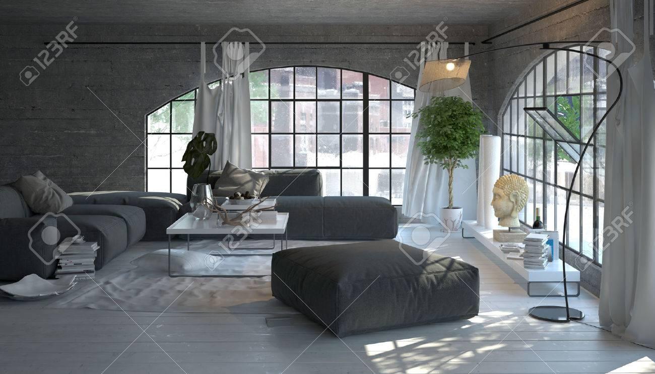 Moderne woonkamer interieur met grote gebogen ramen met uitzicht ...