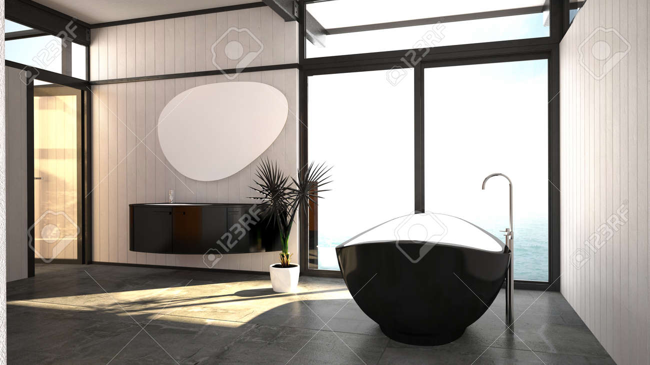Salle De Bain Mur Noir ~ int rieur salle de bain noir et blanc l gant et moderne avec