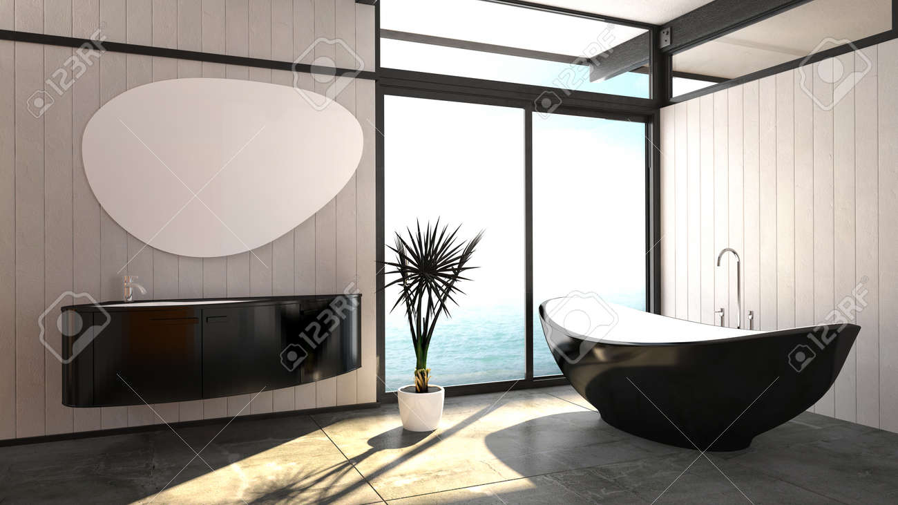 Baignoire moderne et élégant noir permanent en forme de bateau dans une  salle de bains lumineuse et aérée avec une fenêtre du sol au plafond et  meuble ...