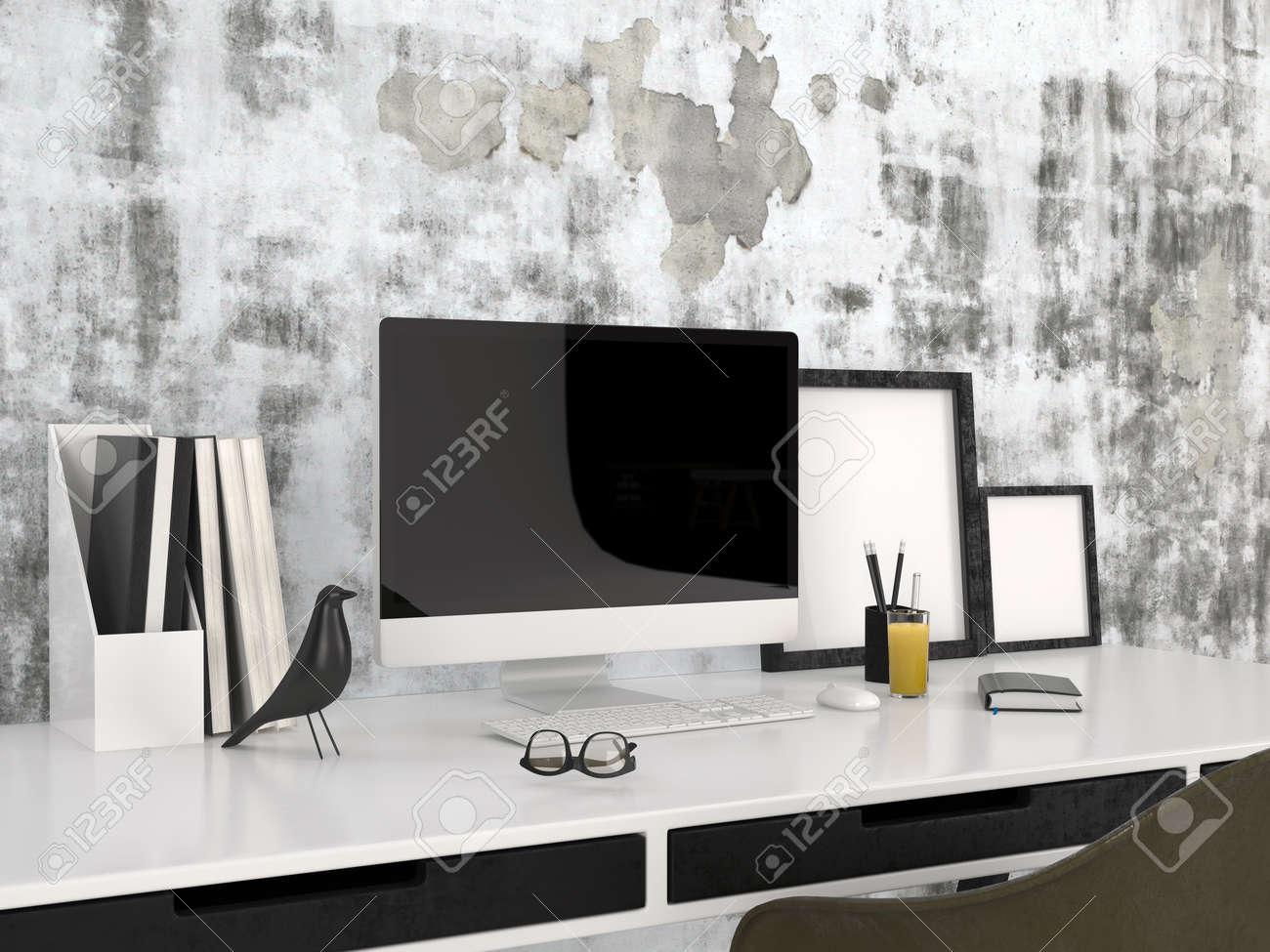 Estación De Trabajo Con Un Moderno Gafas De Ordenador De Escritorio ...