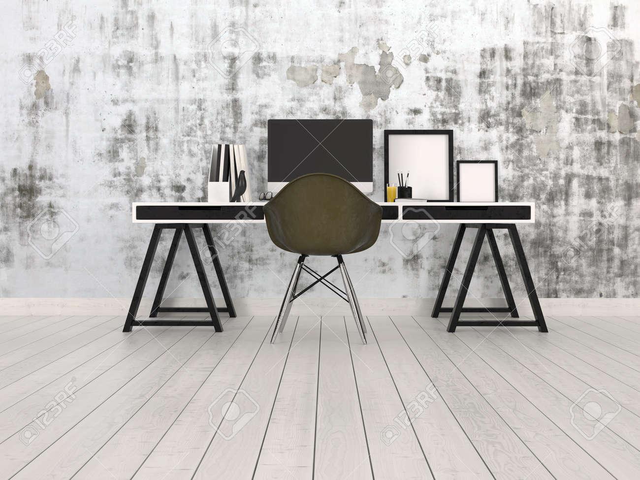 Intérieur moderne de bureau noir et gris avec un bureau de