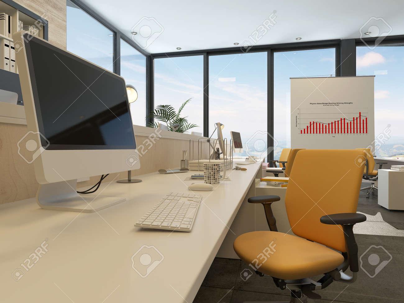 Schreibtisch In Einem Modernen Buro Interieur Mit Einem Grossen