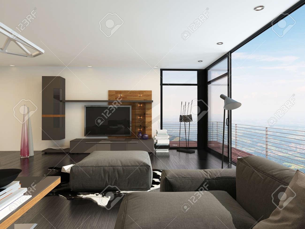 Chique woonkamer interieur met een grote flatscreen tv, bruin ...