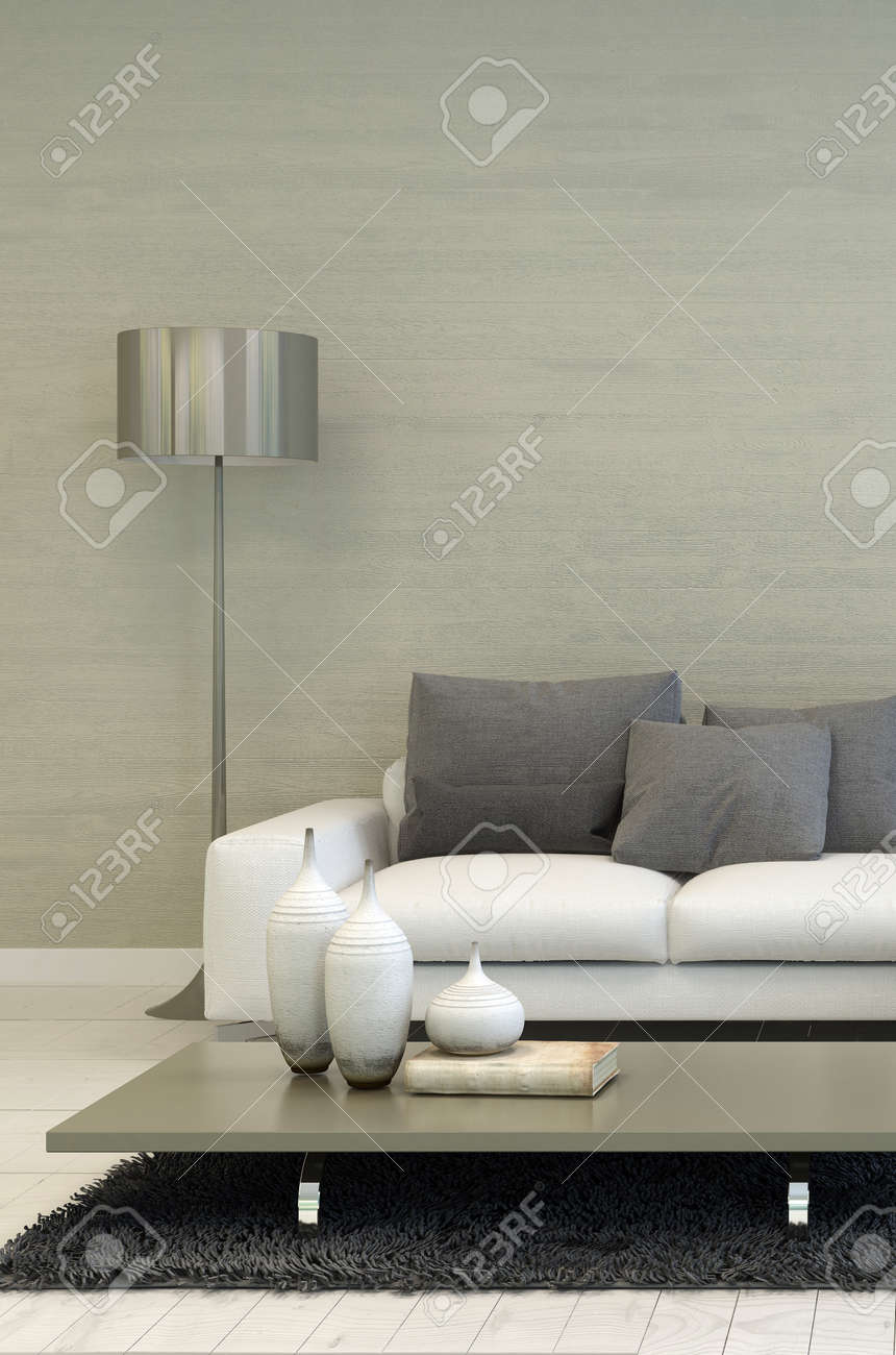 Detail of modern living room with metal floor lamp white sofa detail of modern living room with metal floor lamp white sofa and coffee table mozeypictures Choice Image