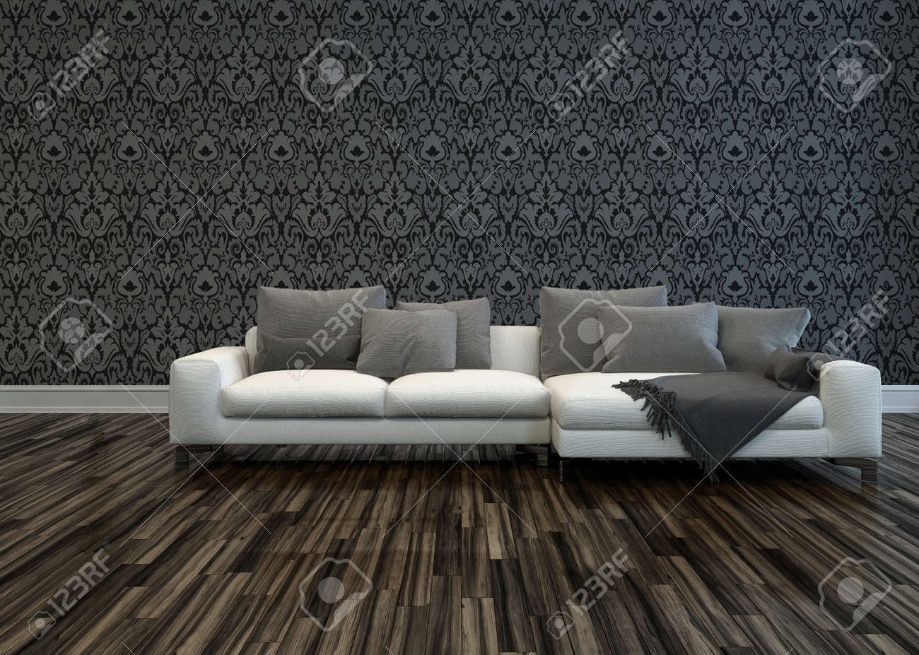 White Sofa With Grey Cushions In Room With Grey Patterned Wallpaper