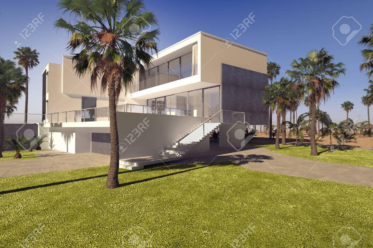 Moderne géométrique de luxe villa tropicale avec des murs blancs lavés et  un jardin paysager avec des pelouses et de palmiers, vue de l\'extérieur ...