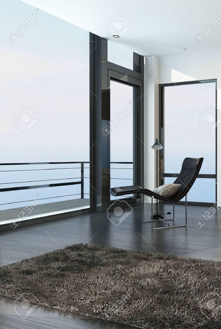 Standard Bild   Stuhl Mit Blick Auf Den Ozean Durch Eine Vom Boden Bis Zur  Decke Glaswand In Einem Modernen Küsten Wohnzimmer Mit Balkon Und Tür Mit  Einem ...