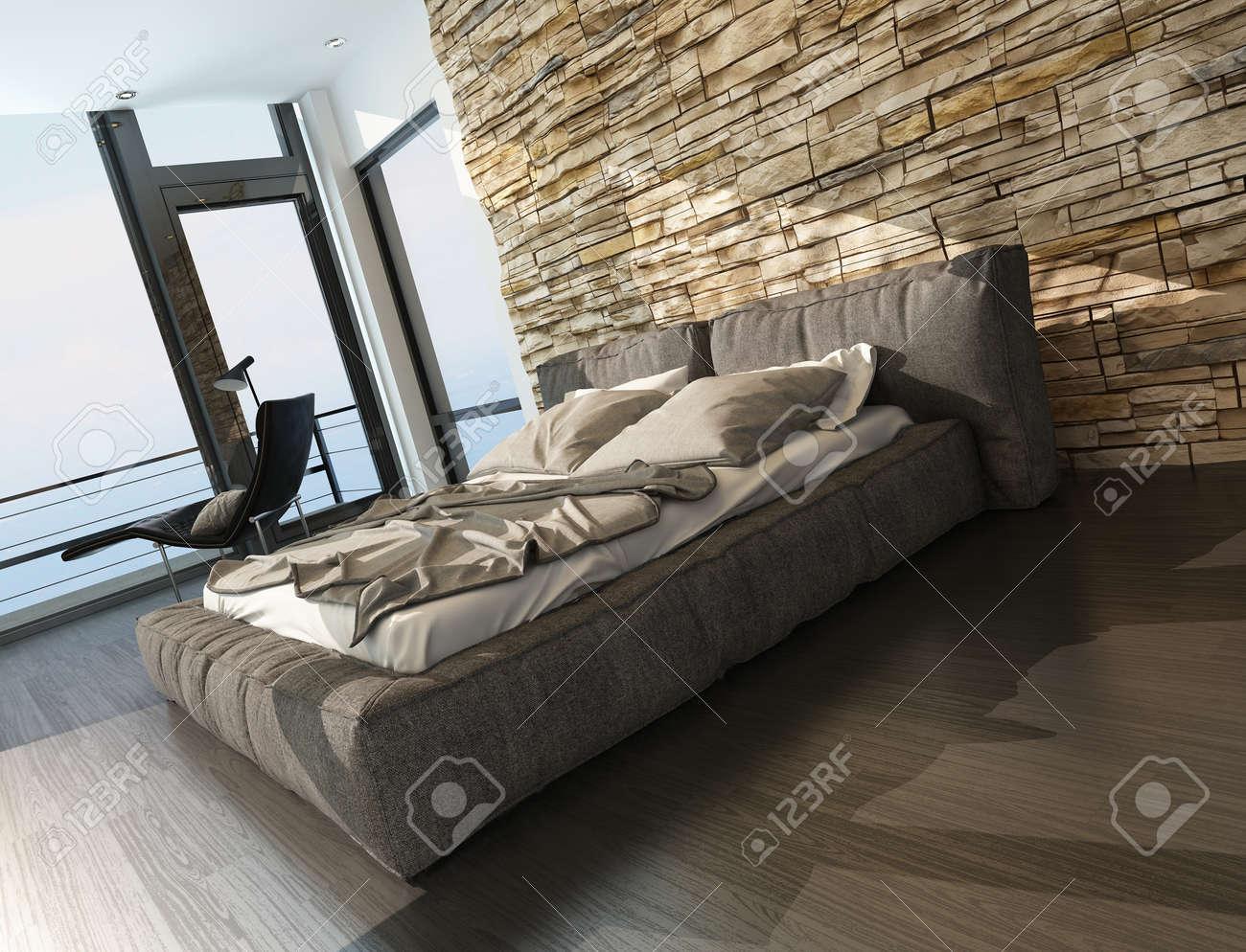 Moderne Stilvolle Polsterkingsize-Bett In Brauntönen In Einem ...