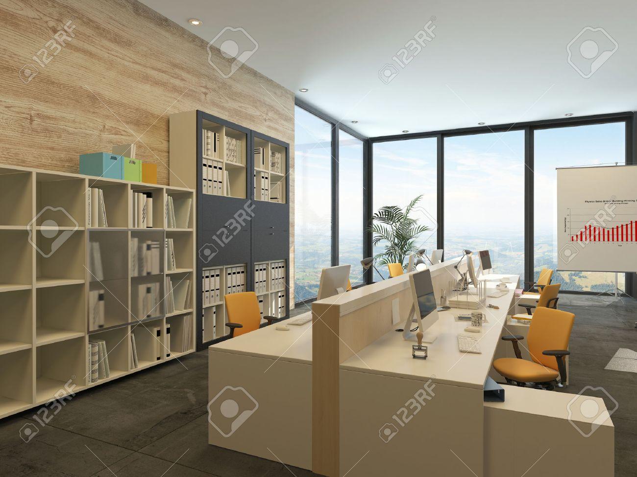 open floor office. Modern Open-plan Office With Multiple Workstations In A Spacious Room Floor-to Open Floor E