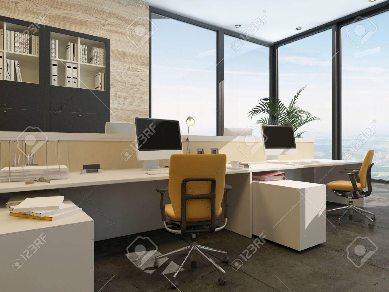 Environnement De Travail Spacieux Dans Un Bureau Moderne Avec Des ...