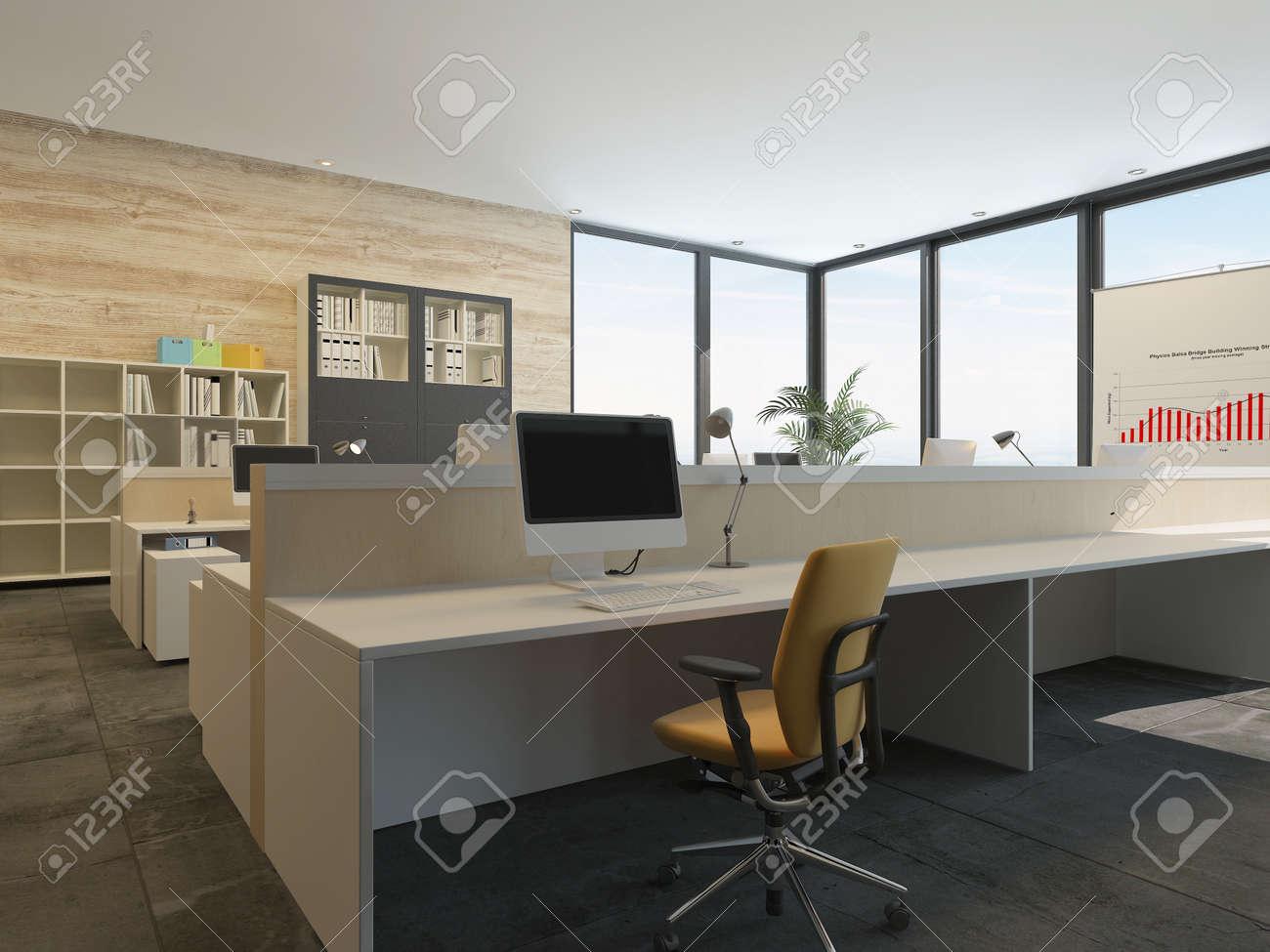 Ufficio Moderno Sa : Moderno ufficio interno con più postazioni di lavoro a pianta