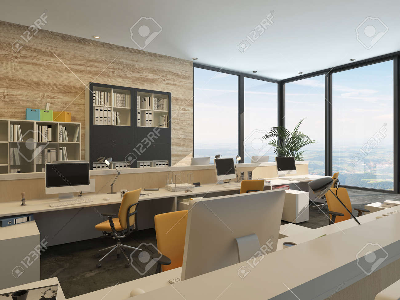 modern minimalist office. modern minimalist office with work stations and large windows in high rise building stock photo