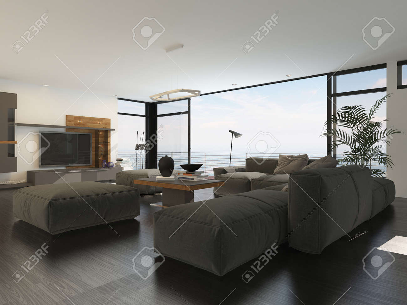 Modern Living Room Interior With Grey And White Decor A Large Upholstered Lounge Suite Around