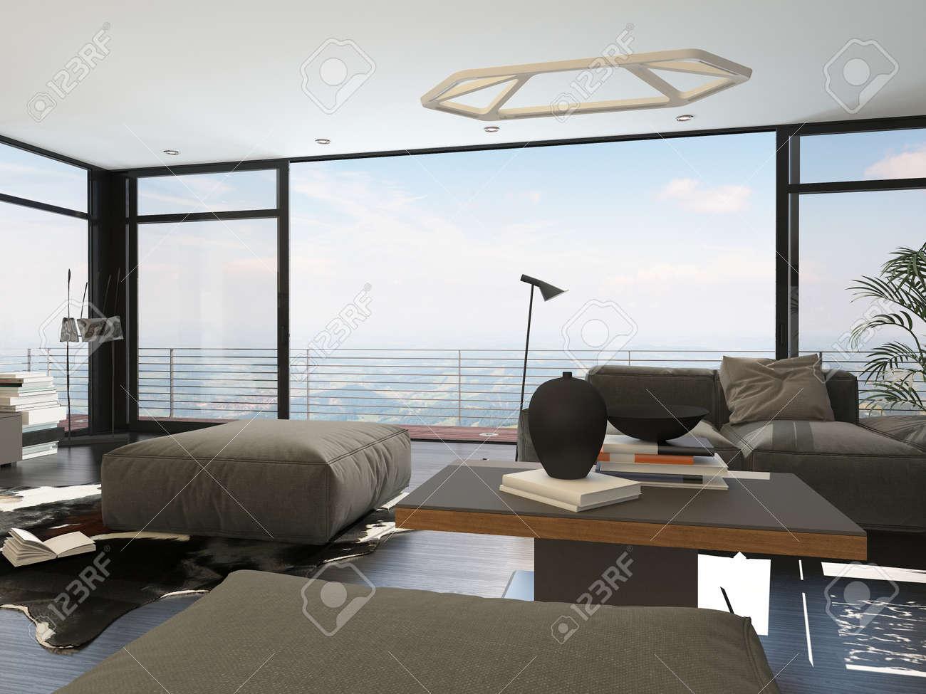 Interior Of Modern Living Room With Large Windows In Highrise Condominium Apartment Stock Photo 36672992