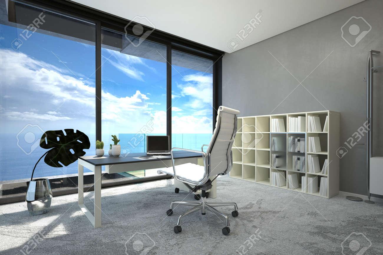 Intérieur moderne et lumineux de bureau spacieux avec une grande
