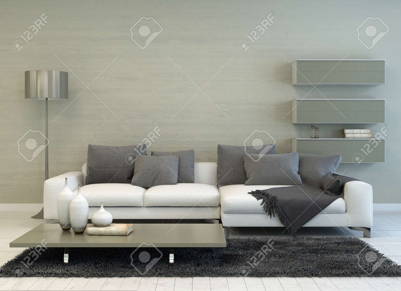 Modern grey and white living room with floor lamp sofa coffee table and