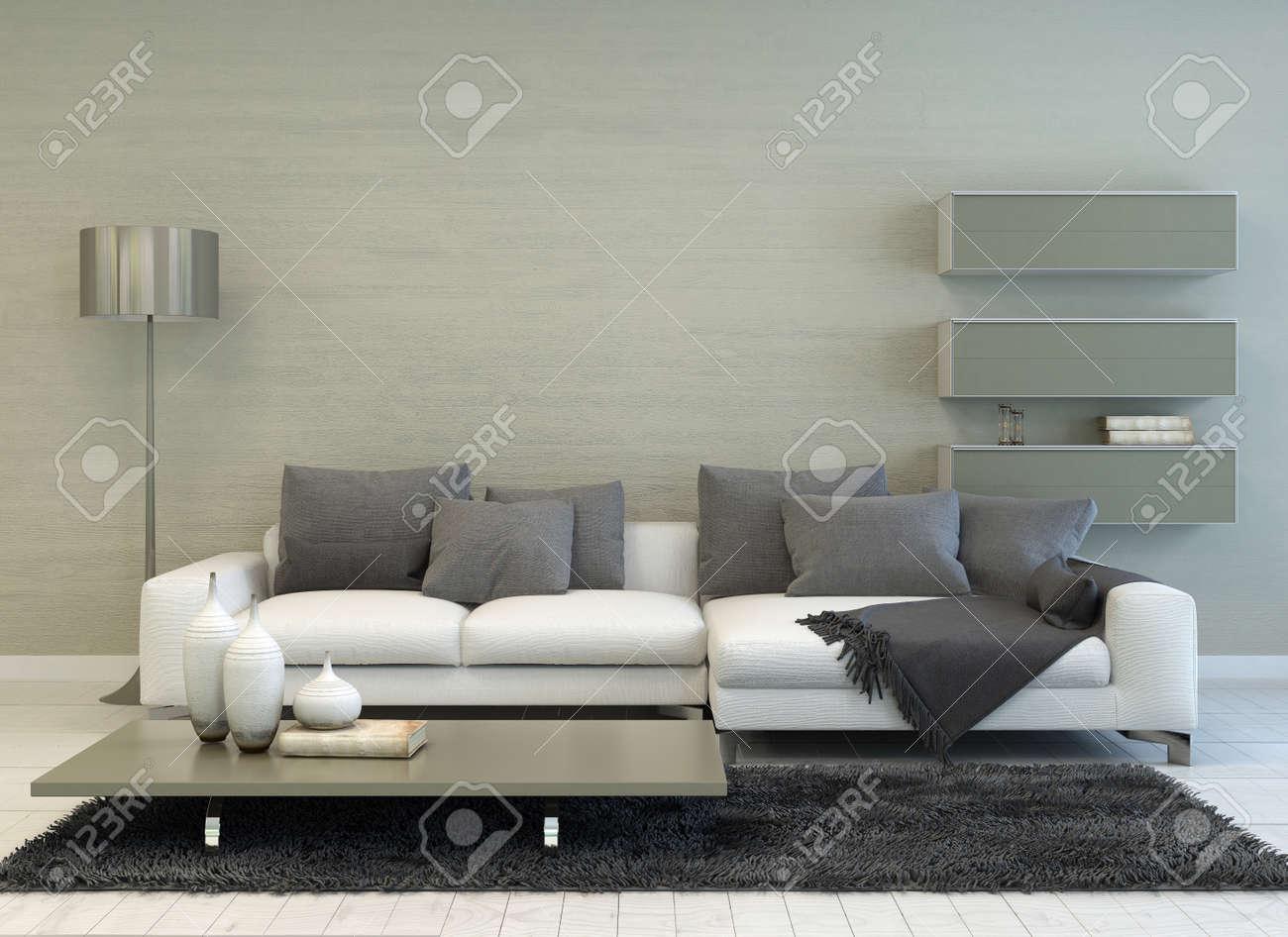 Gris Moderne Et Blanc Salon Avec Lampadaire Canape Table Basse Et Des Etageres Flottantes