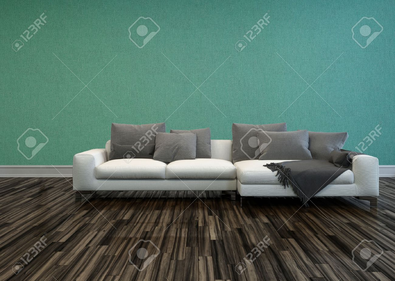 Peachy White Sofa With Grey Cushions In Room With Hardwood Flooring Gamerscity Chair Design For Home Gamerscityorg