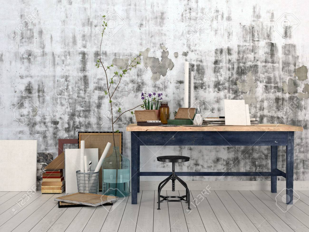 Interior Design Supplies interior of an artist or designer studio with blank canvasses