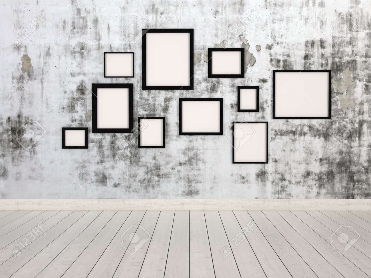 picture frames on wall simple. Group Of Empty Simple Rectangular Picture Frames In Different Sizes Hanging On A Wall With An P