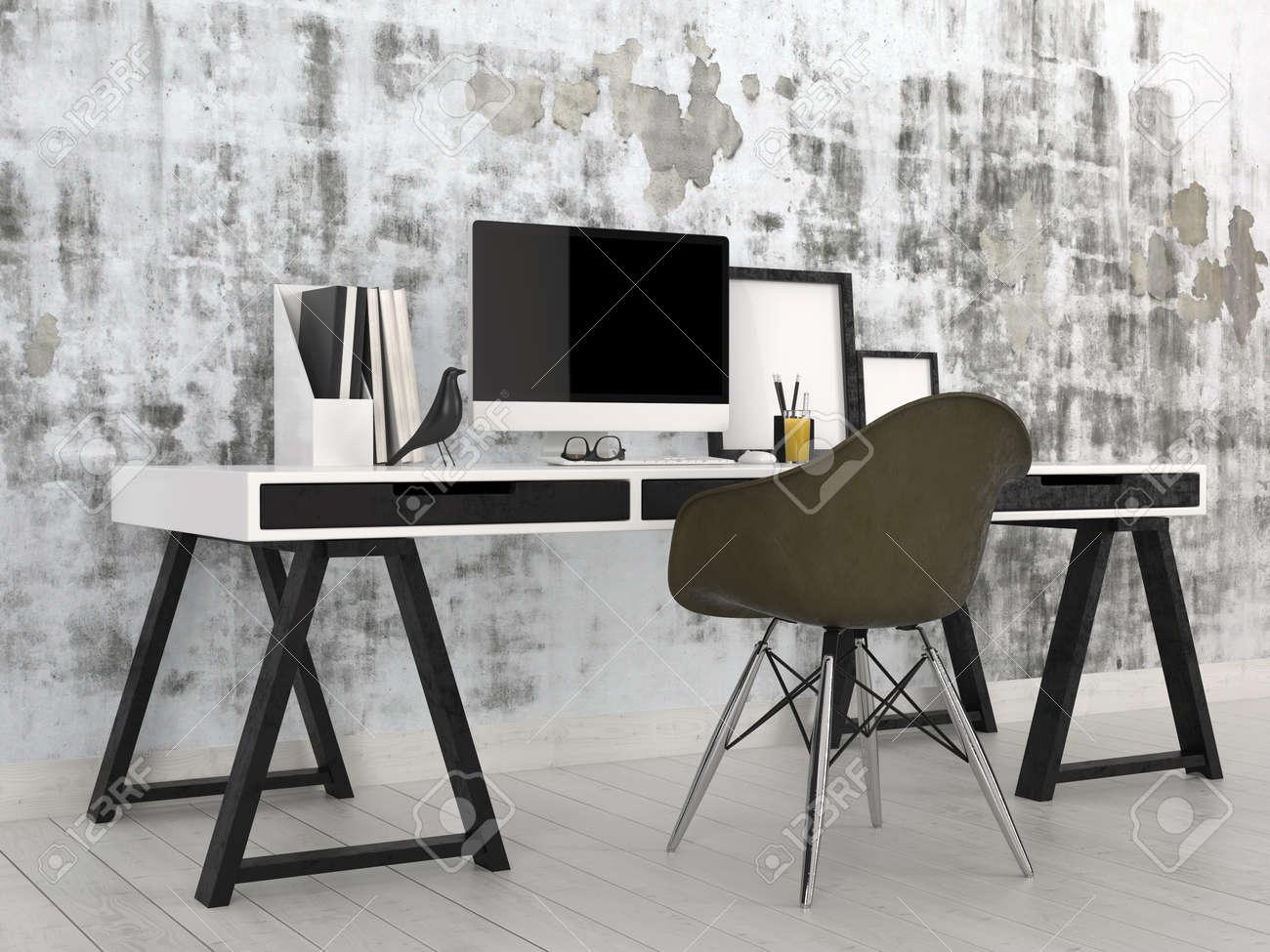 Elegante Moderno In Bianco E Nero Interno Ufficio Con Una ...