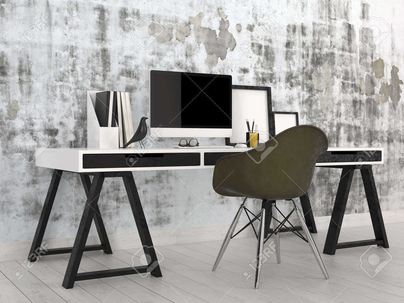 trestle office desk. Stock Photo - Stylish Modern Black And White Office Interior With A Trestle Desk Desktop Computer, Files Frames Against An Abstract Grey Wall C