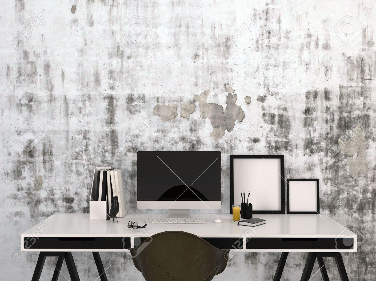 Légant espace de travail à la maison en noir et blanc avec un