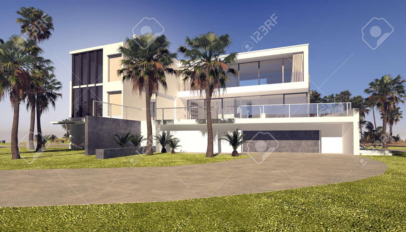 Moderne Blocky Weißen Tropischen Luxus-Villa Mit Einem Rechteckigen ...