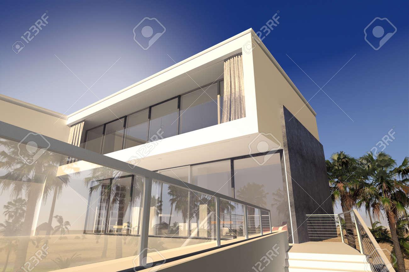 Patio extérieur et salles de séjour d\'une maison de luxe moderne dans les  régions tropicales avec un design polyédrique rectanglaur et de grandes ...