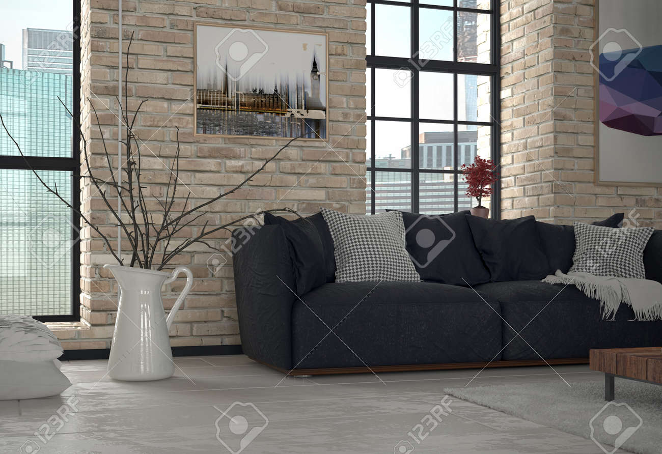 Interiör från urban lägenhet vardagsrum med soffa och exponerade ...