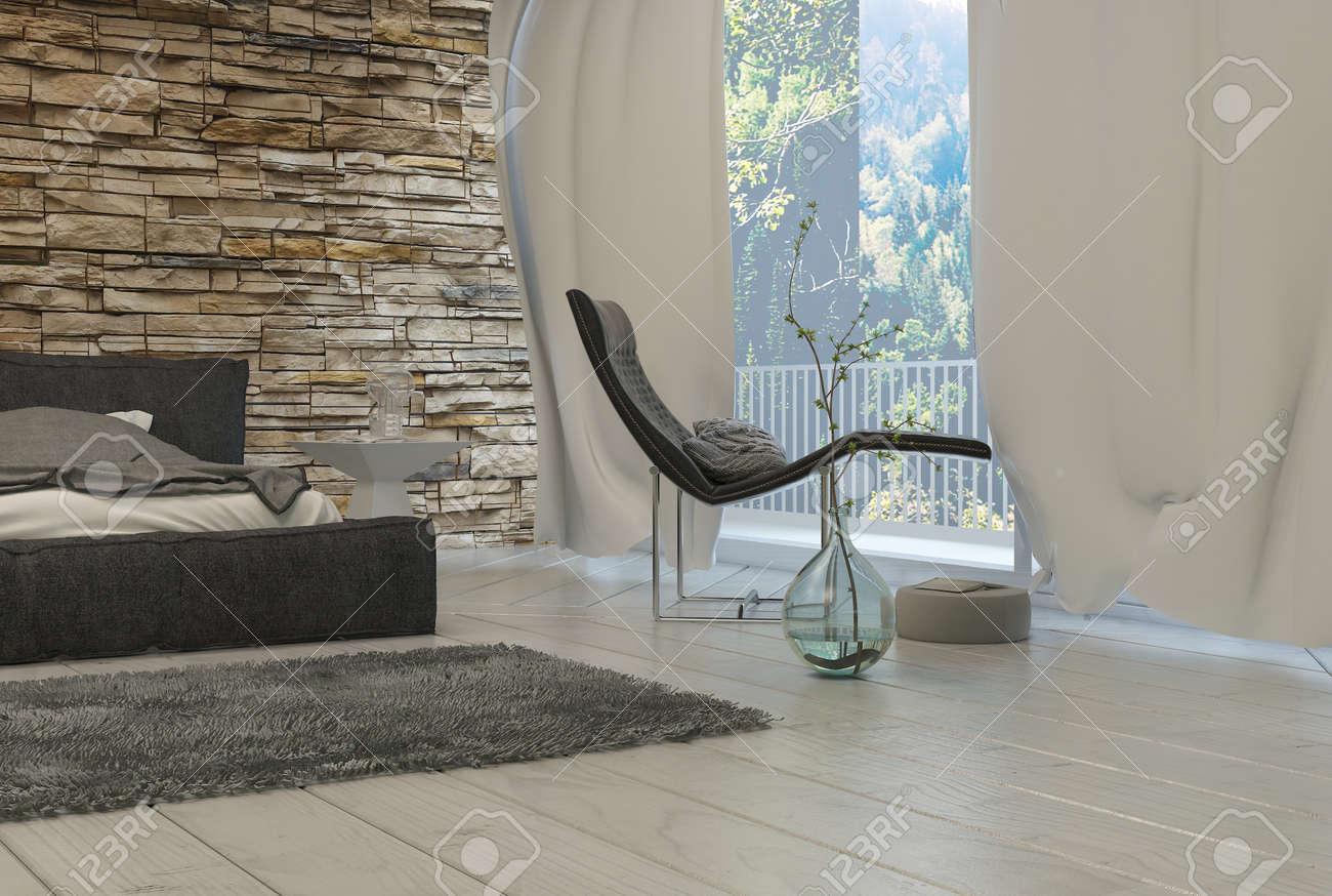 Fenêtre président noir élégant salon Près verre avec rideaux blancs  intérieur d\'une Chambre architectural.