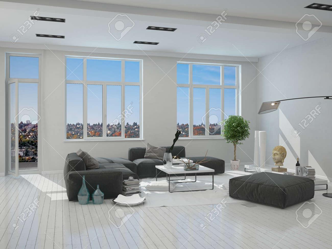 Noir Et Gris Meubles Dans Un Salon Elegant Interieur D Une Maison