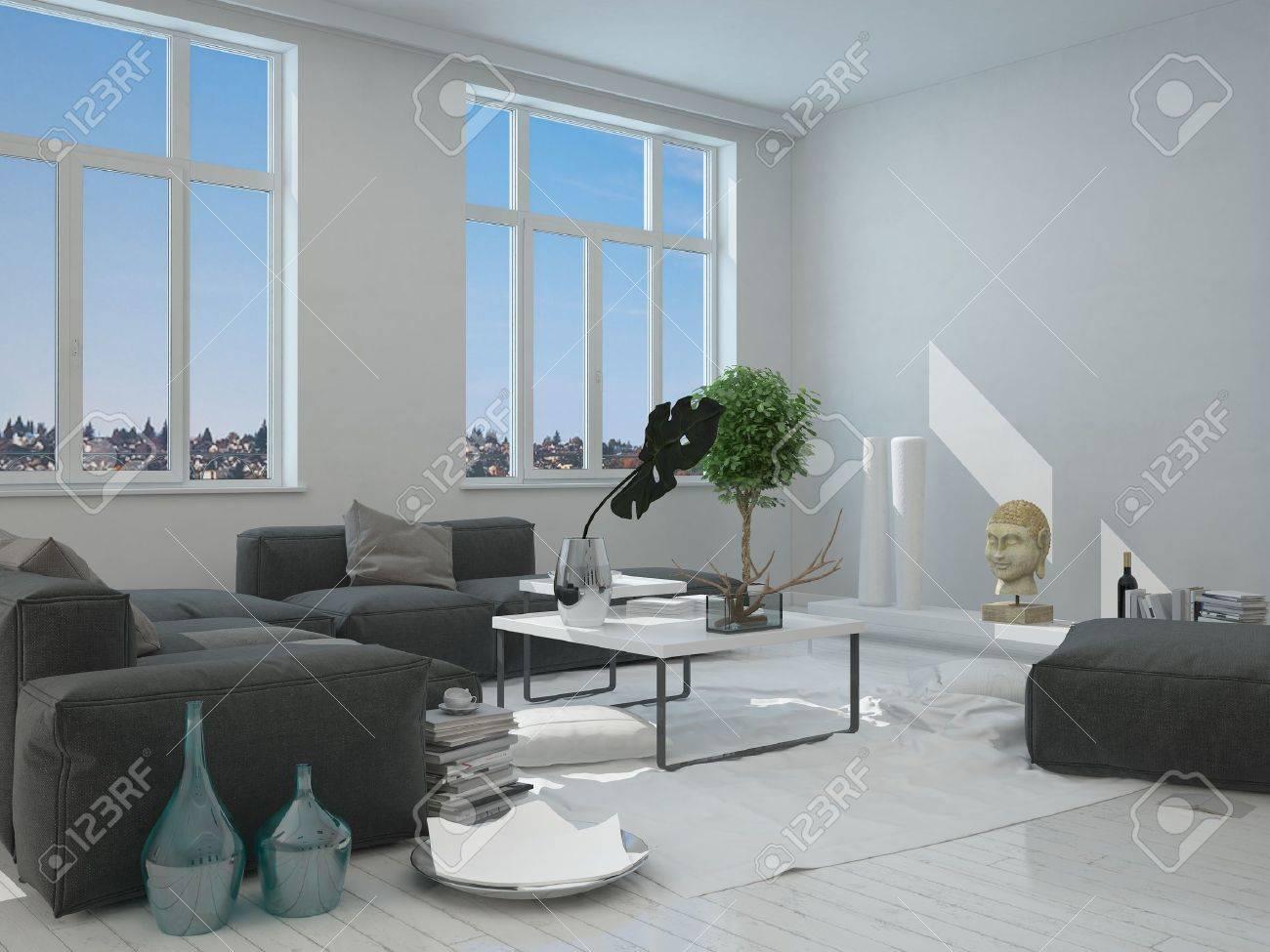 Close Up Gris Et Blanc Salon Meubles Intérieur D\'une Maison Moderne ...