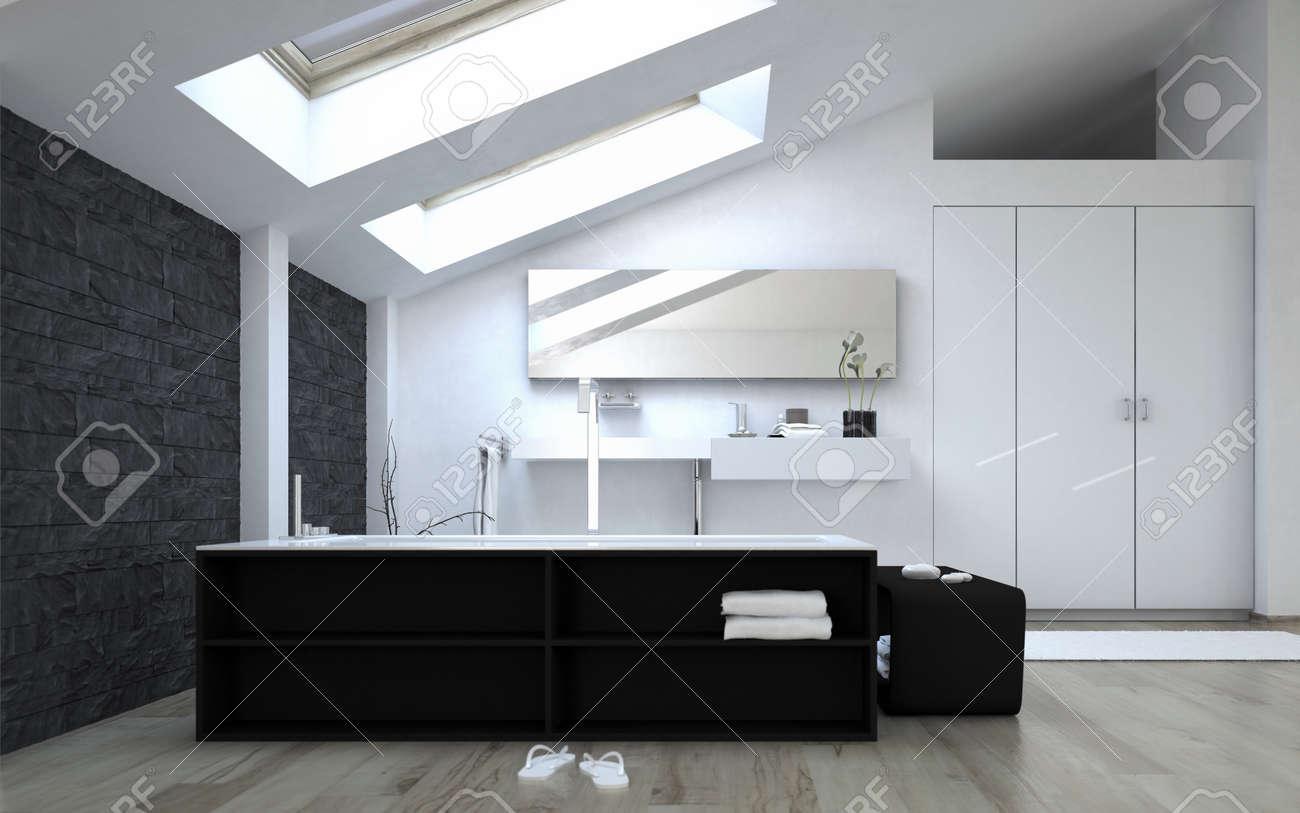 Innenansicht Schwarzweiß Moderne Badezimmer Mit Oberlichter Sunny  Standard Bild   36693819