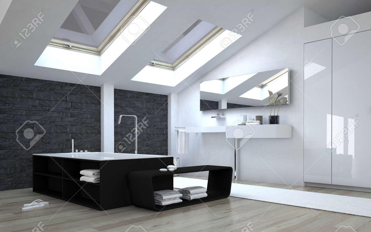 Intérieur de moderne noir et blanc Salle de bains avec fenêtre à tabatière  Sunny à Plafond