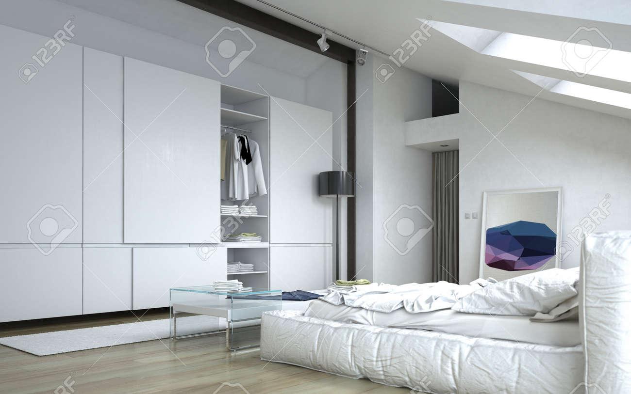 Close up Entièrement meublé Chambre Blanc architectural avec White meubles  et armoires murales.