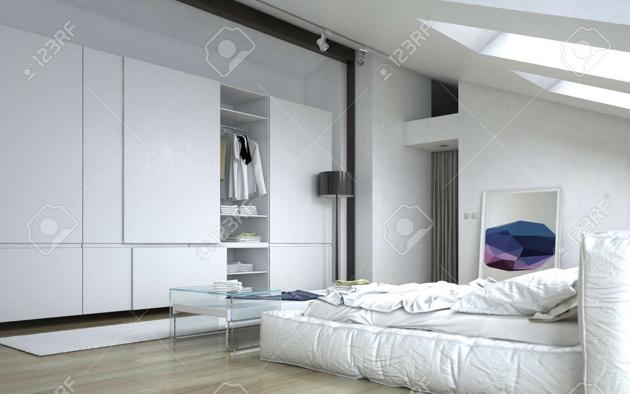 Close Up Fully Furnished Architectural White Bedroom With White Stock Photo Picture And Royalty Free Image Image 36693828