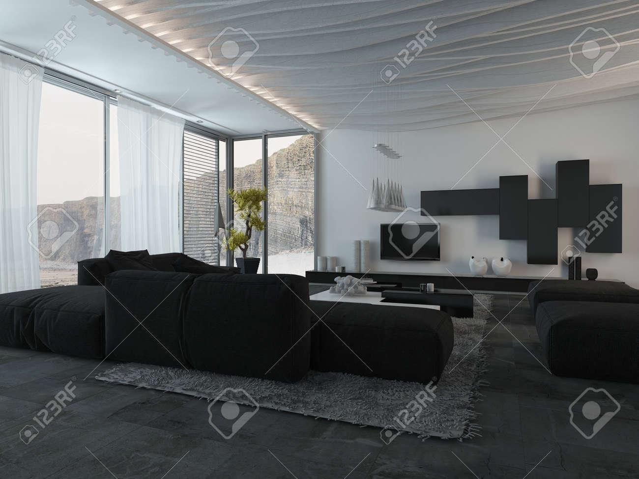 Close Up Elegante Schwarze Mobel An Der Architectural Haus