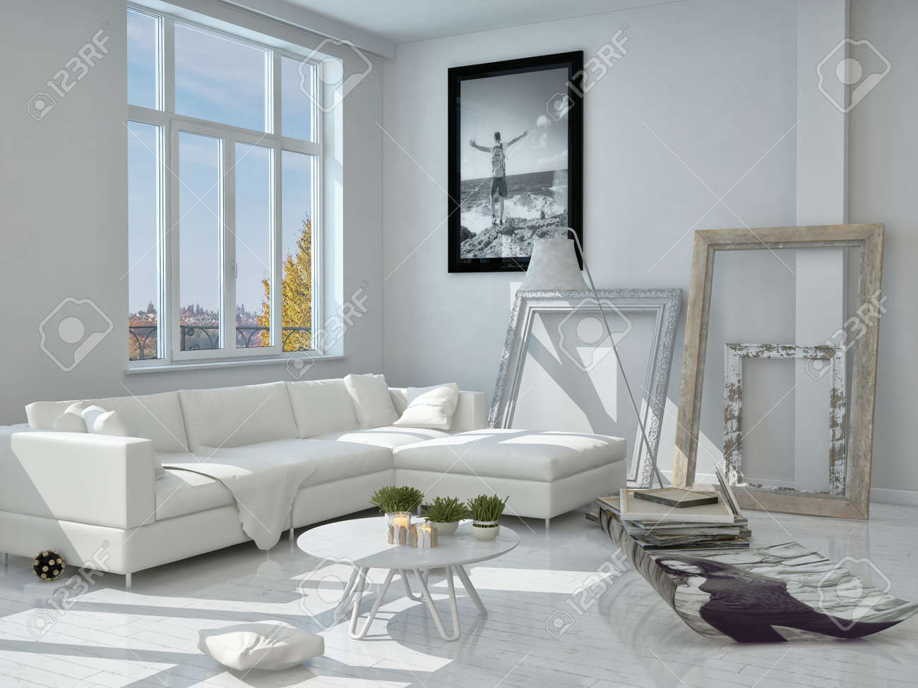 Moderne Architektur Der Eingerichtetes Wohnzimmer Mit Weiß Elegante ...