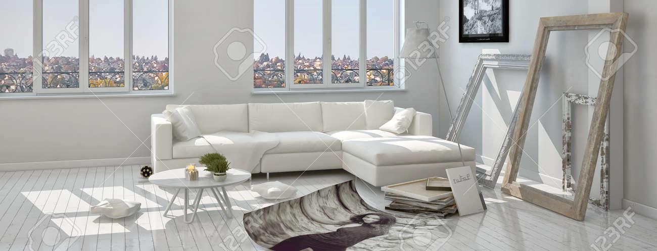 Moderne Architektur Wohnzimmer Mit Dekorationen Auf Dem Boden Bereit