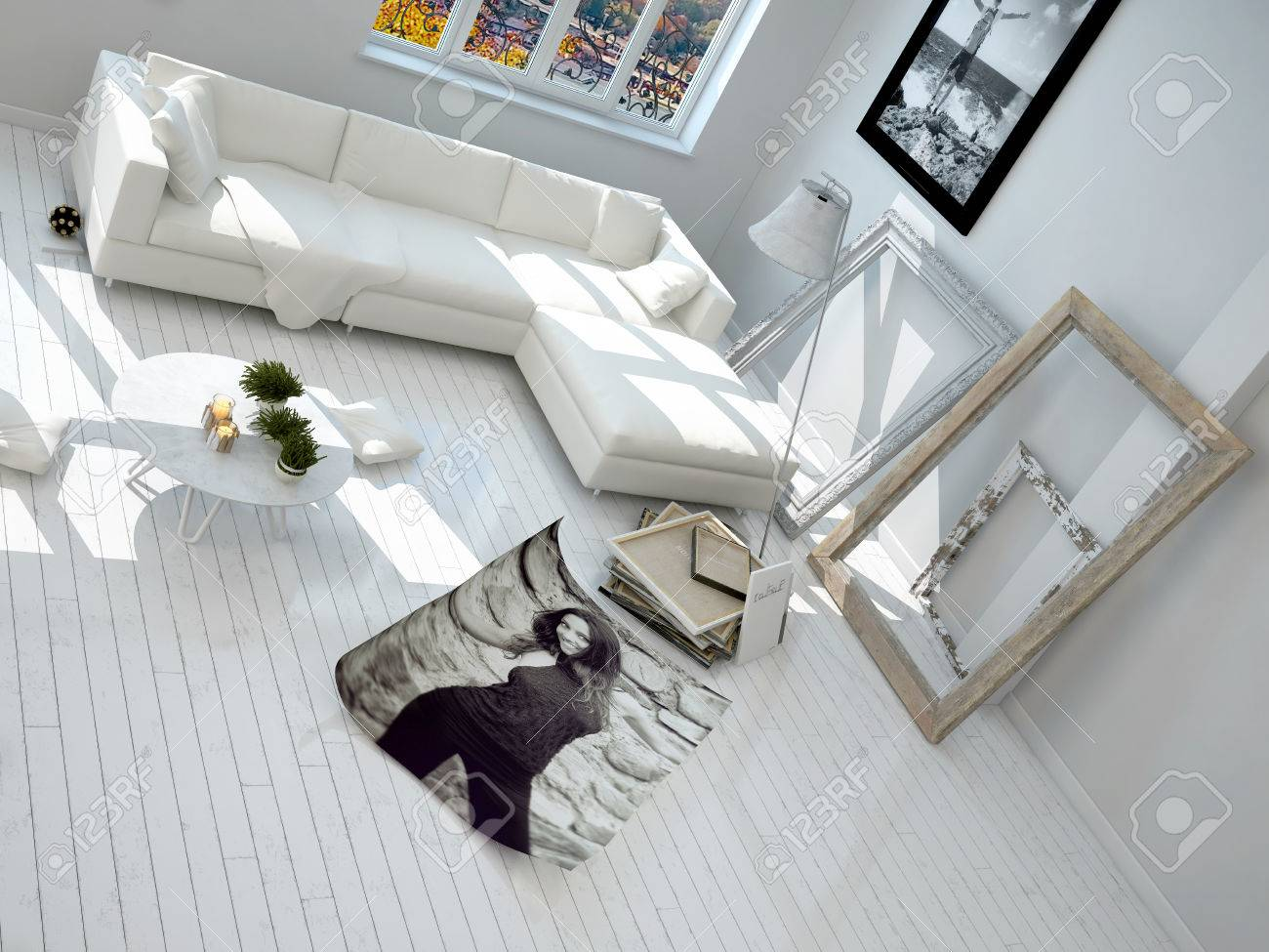Close Up Aerial View Of White Modern Living Room With Photo Frames