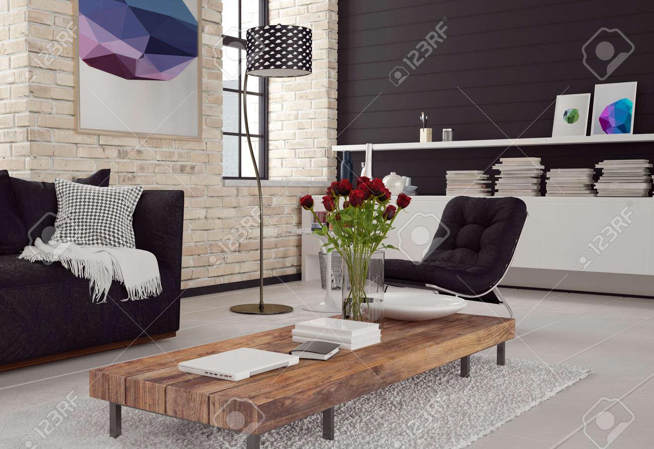 3d Moderne Wohnzimmer Interieur In Schwarz Weiß Dekor Mit Texturierten  Ziegelwänden, Einem Sofa