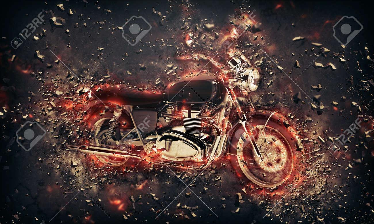 Brennenden Brennenden Motorrad Konzeptionelles Bild Mit Flammen ...