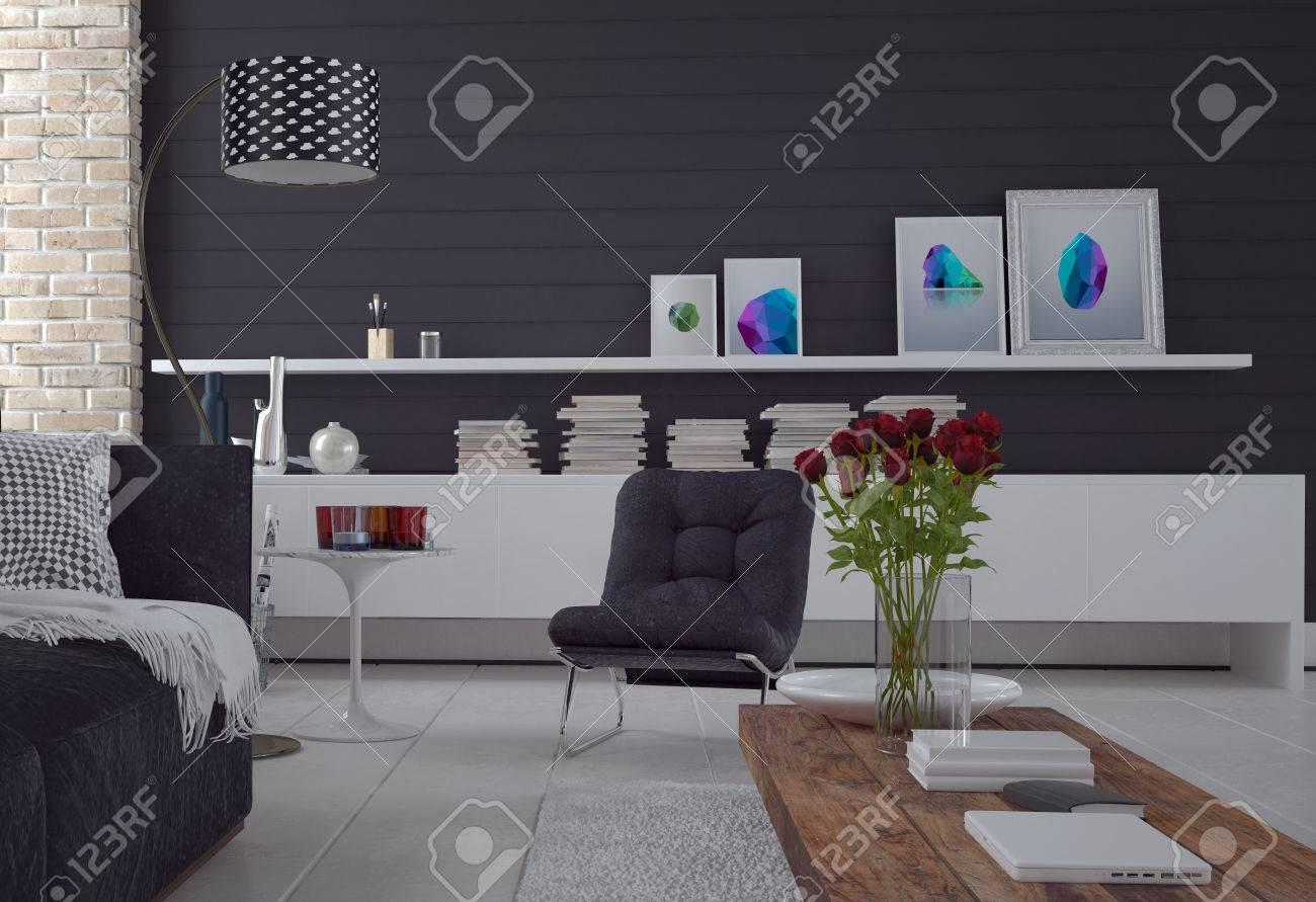 Komfortable Einfache Schwarz-Weiß-Wohnzimmer Innenraum Mit Einem ...