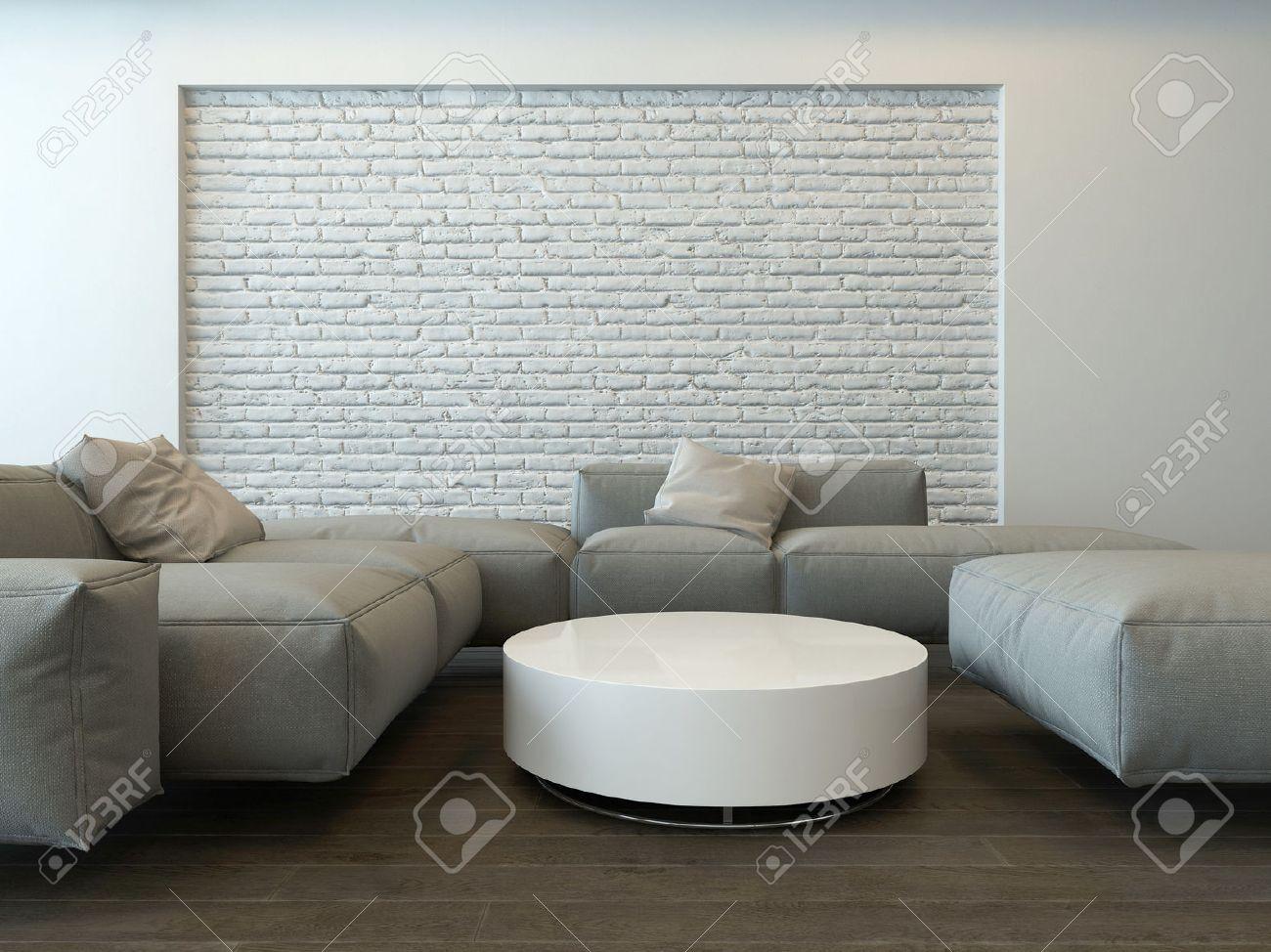 Intérieur gris salon moderne tranquille avec des canapés d'angle ...